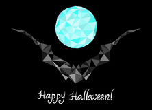 Vector Halloween background with geometrical bat and full moon Stock Photography