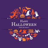 Vector halloween background with place for text with cricle of creepy witches, ghosts and pumpkins Stock Photography