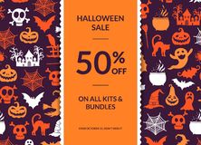 Vector halloween background with vertical decorative ribbon, witches, pumpkins, ghosts, spiders silhouettes Stock Photo