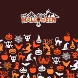 Vector halloween background with witches, pumpkins, ghosts, spiders silhouettes Stock Images