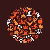 Vector halloween background with witches, pumpkins, ghosts Royalty Free Stock Photo