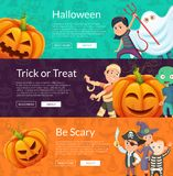 Vector halloween banner set template with cartoon pumpkins and kids in pirate, mummy and skeleton cotumes Stock Images