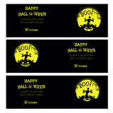 Vector Halloween banners with zombie, pumpkin, scary trees, graves and moon Stock Image
