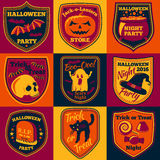 Vector Halloween bright labels set with - ghost, witch hat, skull, cat, pumpkin, cauldron etc. Stock Photography