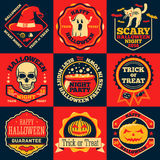 Vector Halloween bright labels set with - ghost, witch hat, skull, cat, pumpkin, cauldron etc. Stock Images