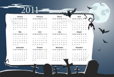 Vector Halloween calendar 2011 with cemetery Royalty Free Stock Images