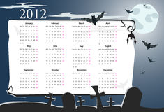 Vector Halloween calendar 2012 with cemetery. Vector European Halloween calendar 2012 with cemetery, full moon and bats (starting from Mondays Royalty Free Stock Image