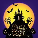 Vector Halloween card, poster, illustration. Trick or treat lettering. Scary castle silhouette on big moon, trees Royalty Free Stock Photos