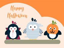 Halloween card template with stylized penguin characters. Modern flat illustration. Royalty Free Stock Photos
