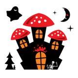 Vector Halloween Castle Cartoon Illustration. Stock Images
