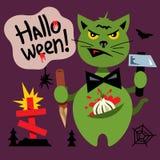 Vector Halloween Cat in the Cemetery Cartoon Illustration. Stock Photo