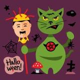 Vector Halloween Cat in Graveyard Cartoon Illustration. Stock Photo