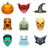 Vector halloween characters. Set of 9 cartoon halloween characters, isolated on white Royalty Free Stock Photography