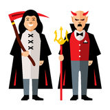 Vector Halloween characters Cartoon Illustration. Death and Devil. on a white Background stock illustration