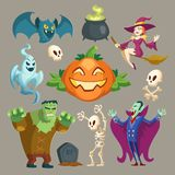 Vector Halloween characters, October holiday cartoon elements. Vector Halloween characters - scary vampire, spooky Frankenstein and pretty witch. Cartoon vector illustration