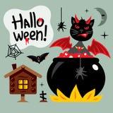Vector Halloween Crazy Black Cat Cartoon Illustration. Stock Image