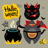 Vector Halloween Crazy Black Cat Cartoon Illustration. Royalty Free Stock Photo