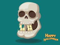 Vector Halloween de la historieta del cráneo en fondo Fotografía de archivo