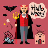 Vector Halloween devil Cartoon Illustration. Stock Photos