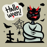 Vector Halloween Devil Cat in straitjacket Cartoon Illustration. Royalty Free Stock Photography