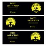 Vector Halloween-Fahnen mit Zombie, Kürbis, furchtsamen Bäumen, Gräbern und Mond Stockbild