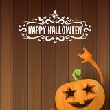 Vector halloween funky rock n roll style pumpkin character and calligraphic halloween hand drawn text on wooden Royalty Free Stock Photos