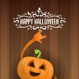Vector halloween funky rock n roll style pumpkin character and calligraphic halloween hand drawn text on wooden Stock Photography