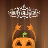Vector halloween funky rock n roll style pumpkin character and calligraphic halloween hand drawn text on wooden Royalty Free Stock Images