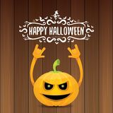 Vector halloween funky rock n roll style pumpkin character and calligraphic halloween hand drawn text on wooden Stock Image