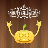 Vector halloween funky rock n roll style pumpkin character and calligraphic halloween hand drawn text on wooden Royalty Free Stock Image