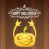 Vector halloween funky rock n roll style pumpkin character and calligraphic halloween hand drawn text on wooden Stock Images