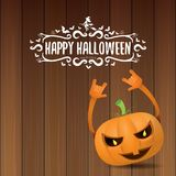 Vector halloween funky rock n roll style pumpkin character and calligraphic halloween hand drawn text on wooden Royalty Free Stock Photo