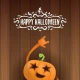 Vector halloween funky rock n roll style pumpkin character and calligraphic halloween hand drawn text on wooden Stock Photos