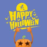 Vector halloween funky rock n roll style pumpkin character isolated on pink background. Stock Photos