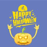 Vector halloween funky rock n roll style pumpkin character isolated on pink background. Royalty Free Stock Photography
