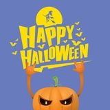 Vector halloween funky rock n roll style pumpkin character isolated on pink background. Stock Image