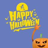 Vector halloween funky rock n roll style pumpkin character isolated on pink background. Royalty Free Stock Images
