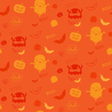 Vector - Halloween Ghost Bat Pumpkin Seamless Patt Stock Image