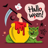 Vector Halloween Green Cat Cartoon Illustration. Stock Photo