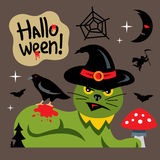 Vector Halloween Green Cat Cartoon Illustration. Royalty Free Stock Photography