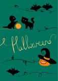 Vector halloween. Greeting card, black cats, pumpkin, bats Royalty Free Illustration