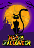 Vector halloween greeting card with cat, moon, castle and original text for party print flyer. Stock Image