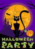 Vector halloween greeting card with cat, moon, castle and original text for party print flyer. Stock Images