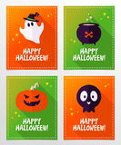 Vector Halloween greeting card designs with ghost, skull. Set of vector Halloween greeting card designs with ghost, skull, cauldron and pumpkin in flat style Royalty Free Stock Image