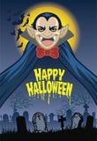 Halloween greeting card with dracula cartoon character Stock Image