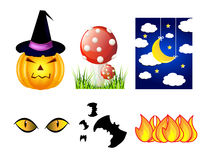 Vector halloween icon set. Vector halloween set of icons - pumpkin, hat, mushroom, night sky, cat eyes, bats and fire flames Royalty Free Stock Photos
