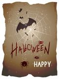 Vector Halloween illustration with bats, spiders and web. stock illustration