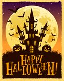 Vector Halloween illustration of a castle against the moon vector illustration