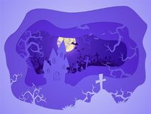 Vector Halloween illustration with castle and grave. 3d layered stylization. Vector Halloween illustration with castle and grave on the night sky background Stock Photo