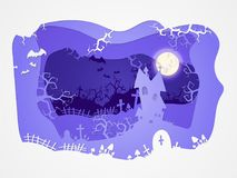 Vector Halloween illustration with castle and graves. 3d layered stylization. Vector Halloween illustration with castle and graves on the night sky background Stock Image